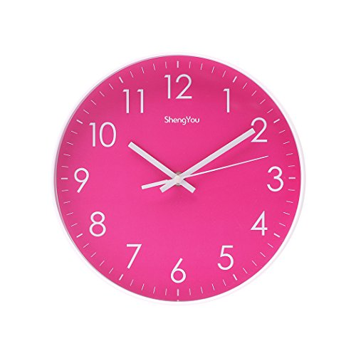 Wood French Style Table Clock (SonYo Indoor Non-Ticking Silent Quartz Modern Simple Wall Clock Digital Quiet Sweep Movement Office Decor 10 Inch(Rose))