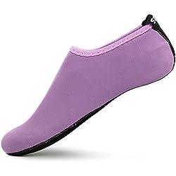 SENFI Unisex Water Skin Shoes Barefoot Aqua Socks for Pool Water Aerobics Exercise,TFF-01purple-M