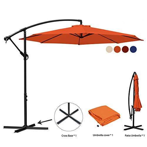 JEAREY Patio Umbrella 10 Ft Offset Cantilever Umbrella Outdoor Market Hanging Umbrellas & Crank with Cross Base, 8 Ribs (Orange)