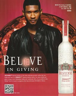 **PRINT AD** With Usher For 2011 Belvedere Vodka Believe In Giving **PRINT - Usher 2011