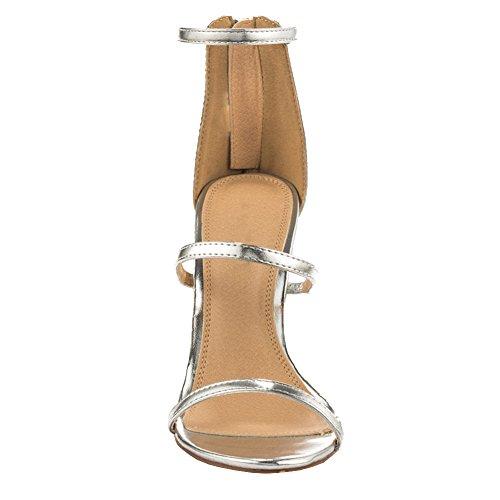 MERUMOTE - Sandalias de vestir de Material Sintético para mujer plata
