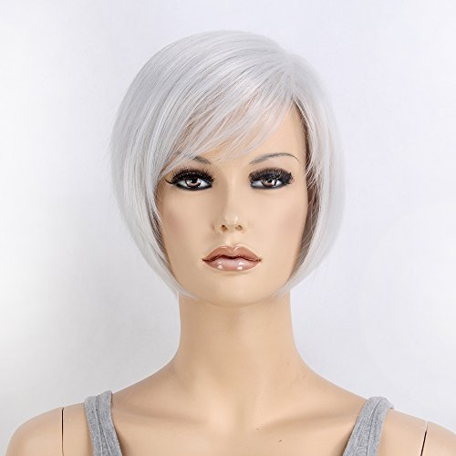 Stfantasy Wigs for Women Cosplay Costume Short Straight Synthetic Bob Style Peluca 12 Inch 95g w/ free Wig Cap and Clips, Silver Grey