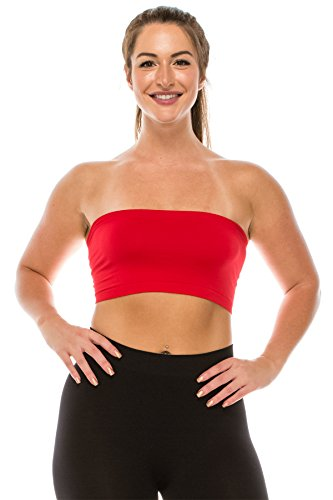 Kurve Seamless Bandeau Tubetop (Non-Padded)Made in USA (One Size (XS-L), Red)