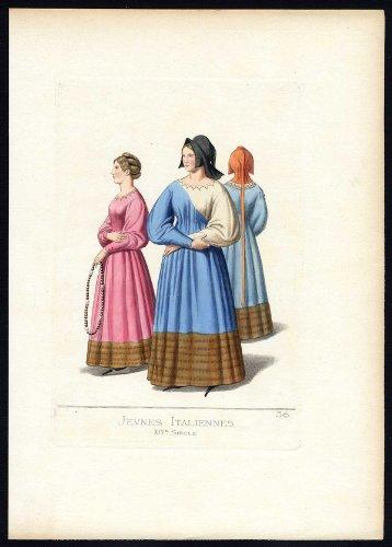 Fourteenth-century Italy Costumes (Antique Print-WOMAN-ITALY-COSTUME-14TH CENTURY-PLATE 36-Bonnard-Mercuri-1860)