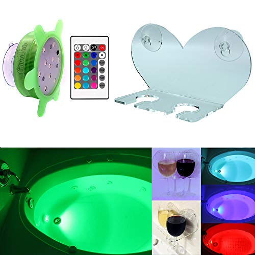 GlowTub Bath & Shower Double Wine Glass Holder with Bathtub Color Changing led Light ()