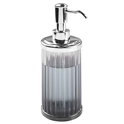 Lotion Gray - mDesign Fluted Plastic Refillable Liquid Soap Dispenser Pump Bottle for Bathroom Vanity Countertop, Kitchen Sink - Holds Hand Soap, Dish Soap, Hand Sanitizer, Essential Oils - Smoke Gray/Chrome