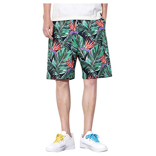 Breakaway Trunk - Men's Pant Swim Trunks Quick Dry Board Shorts Elastic Waistband 3D Print Beach Pant with Pockets Green