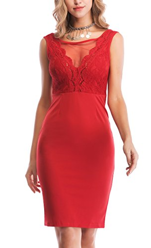 Stretch Mesh Gown - Yikomi Women's Mesh V Neck Sleeveless Lace Bodycon Stretch Cocktail Party Dress (XL, Red)