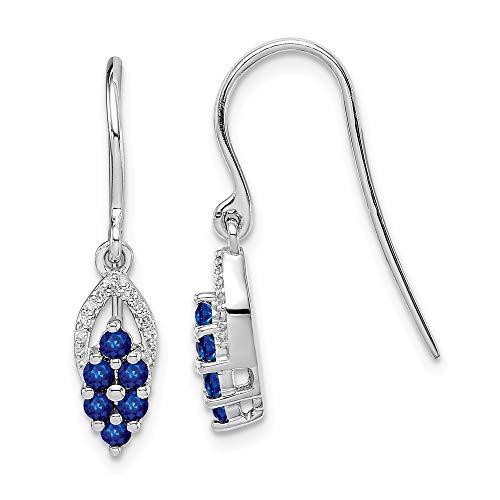 925 Sterling Silver Diamond Sapphire Shepherd Hook Drop Dangle Chandelier Earrings Fine Jewelry Gifts For Women For ()