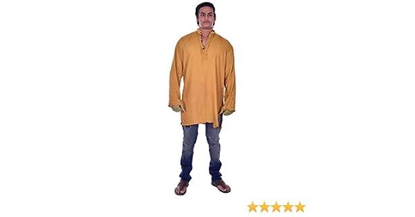 Lakkar Haveli Indian Men/'s Kurta Shirt 100/% Cotton Plus Size Loose Fit Blue Color