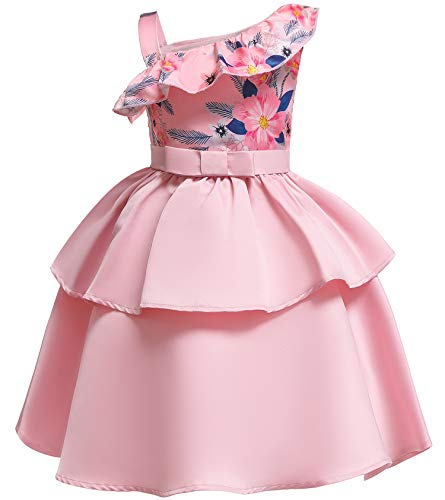 NSSMWTTC Flower Girls Dresses Child Christmas Halloween Formal Bridesmaid New Year Knee Dress (Pink02,150) ()