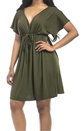 Beach Womens Deep Rise Neck Casual High Dress Mini V Solid Color Green Cromoncent UqwBzpw
