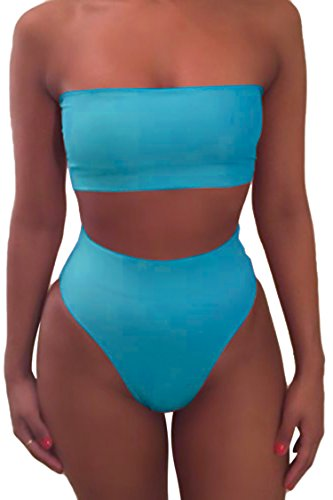 Pink Queen Women's Removable Strap Pad High Waist Bikini Set Swimsuit Blue S (Bikini Swimwear Waist High Women)