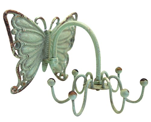 Butterfly Shape (NIKKY HOME Shabby Chic Pewter Butterfly Shape Rotatable Jewellery Wall Hooks for Home Decor, Green)