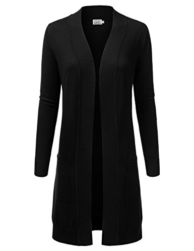 JJ Perfection Womens Light weight Long Sleeve Open Front Long Cardigan BLACK S
