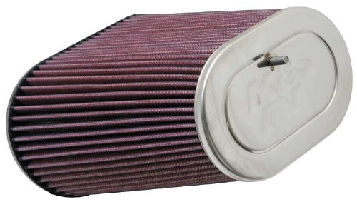 K&N RF-1012 Universal Clamp-On Air Filter: Oval Straight; 3.125 in (79 mm) Flange ID; 9 in (229 mm) Height; 8.75 in x 5 in (222 mm x 127 mm) Base; 6.25 in x 4 in (159 mm x 102 mm) Top