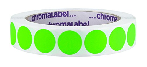 ChromaLabel 3/4 inch Removable Color-Code Dot Labels | 1,000/Roll (Fluorescent Green)