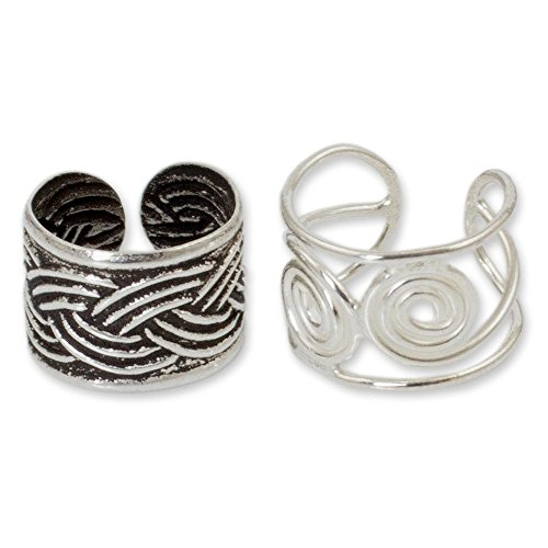 NOVICA Set of 2 Adjustable .925 Sterling Silver Ear Cuffs, Contrasts' - Oxidized Cuffs Ear