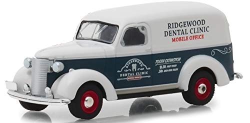 1939 Chevrolet Panel Truck Blue and White Ridgewood Dental Clinic Mobile Office Norman Rockwell Delivery Vehicles Series 1 1/64 Diecast Model Car by Greenlight 37150 A