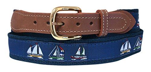 - Sailboat, Sloop Belt on Navy Webbing 38 (Pant Waist Size 36)