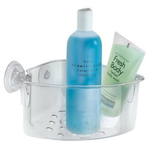 InterDesign Power Lock Suction Bathroom Shower Caddy Corner Basket for Shampoo, Conditioner, Soap - Clear