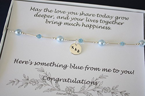 Something Blue Bride Gift Anklet Silver and Blue Pearl Anklet Couples Charm Monogram Initials Groom ()