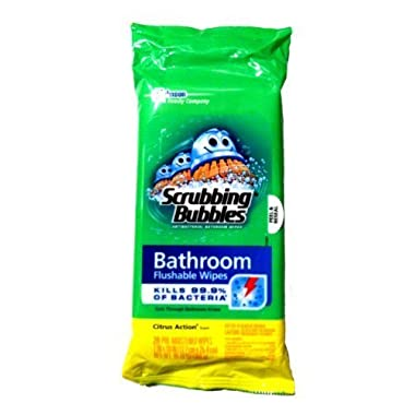 Scrubbing Bubbles Flushable Bathroom Wipes, 28 Count, (Pack of 3)