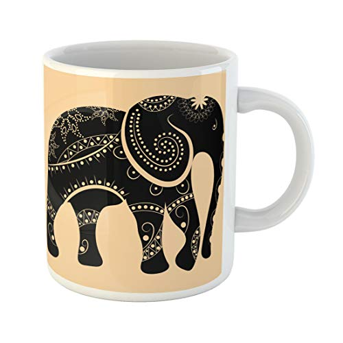 Semtomn Funny Coffee Mug Pattern an Elephant with Ornament Tribal Africa African Animal Art 11 Oz Ceramic Coffee Mugs Tea Cup Best Gift Or Souvenir