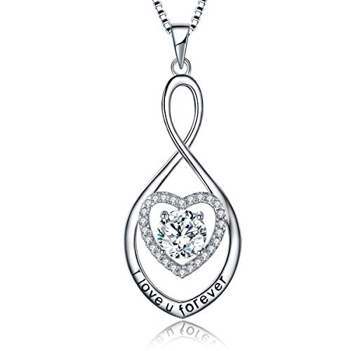 MUATOGIML 925 Sterling Silver I Love You Forever Love Heart Infinity Pendant Necklace Jewelry Gifts for Women Wife Mom Diamond Cut Mom Heart