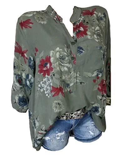 Neck Battercake A Tops Primaverile Eleganti V Fiore Taglie Donne Blusa Casuale Forti Baggy Camicetta Maniche Casual Autunno Modello Verde Camicia Bluse Donna Lunghe Shirts p4aqrp