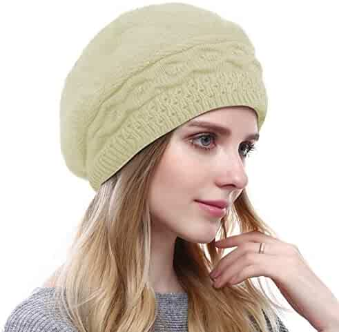 359e29095c4a2 Women s Solid Knit Furry French Beret - Fall Winter Fleece Lined Paris  Artist Cap Beanie Hat