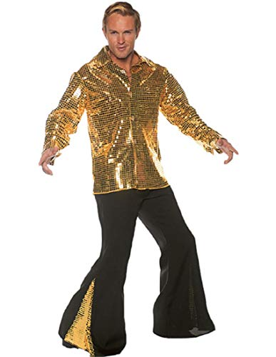 Underwraps Men's 1970s Disco Costume Set-Dancing King, Gold, One -