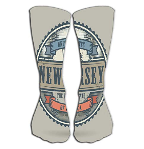 P.Scott Outdoor Sports Men Women High Socks Stocking Vintage Stamp Text United States America New Jersey Vintage Stamp Text United States America New Jersey Tile Length 19.7