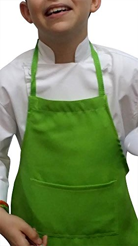 CHEFSKIN CHILDREN APRON WHITE, CENTER POCKET, NICE STRAPS, 100% POLY FABRIC, YOU CAN DRAW, EMBROIDER, IRON-ON, WONT FADE WONT SHRINK, WILL LAST FOR MANY MANY WASHES (100, LIME GREEN) by CHEFSKIN