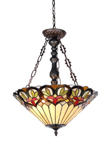 Chloe Lighting CH33380VI18-UH2  Jasper Tiffany-Style Victorian 2 Light Inverted Ceiling Pendent 18-Inch Shade - Inverted Pendent