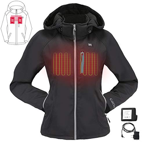 COLCHAM Heated Jacket for Women with Detachable Hood and Battery Pack Waterproof and Windproof