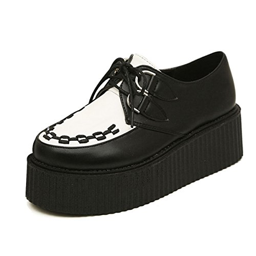 CHNHIRA Women's Creeper Platform Shoes Lace-Up Goth Punk Wedge Fashion Sneaker (6.5 US, Black-White)