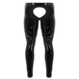 - 41MuKeNBo8L - Agoky Men's Lingerie Wet Look Patent PVC Leather Open Bulge Pouch CrothlessTight Pants Leggings Trousers