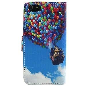 WQQ un caso de cuerpo completo patrón globo cuero de la PU con el soporte para iphone 5c