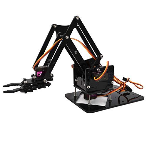 dezirZJjx Robot Learning Kit,Robotic Arm Kit, Acrylic Mechanical Robot Arm Claw Clamp DIY Assembly Educational Accessory Kit