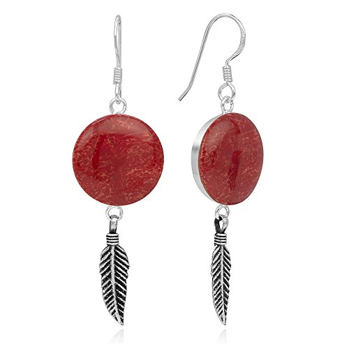 925 Sterling Silver Natural Red Sea Bamboo Coral Tribal Dreamcatcher Round Dangle Hook Earrings 2