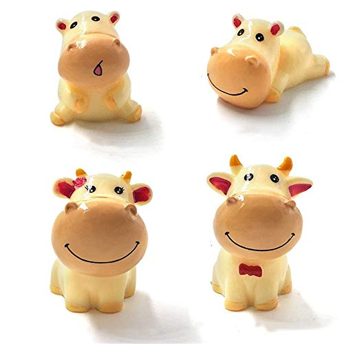 (Kimkoala Miniature Cow Figurines, 4Pcs Cute Yellow Cow Family Figures Cartoon Animal Crafts for Fairy Garden Decoration Home Decor Cake Toppers Toys Gift for Children)