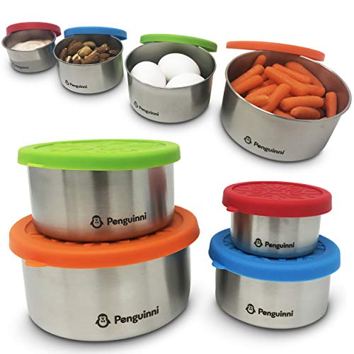 Penguinni Food Storage Containers | Stainless Steel Food Containers with Silicone Lids | Lightweight and Leakproof Reusable Lunchbox | 4 Nesting Set (XS, S, M, L) | Perfect for Kids, Toddlers, School