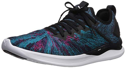 (PUMA Women's Ignite Flash GEO Sneaker, Hawaiian Ocean Black-Beetroot Purple, 6 M US)