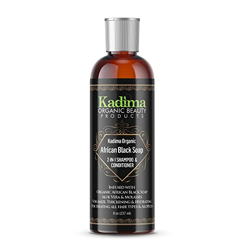 Healing Oil Infused Comb - Kadima Organic African Black Soap 2-in-1 Shampoo & Conditioner Treating All Hair Types and Alopecia 100% Organic Black Soap 8oz