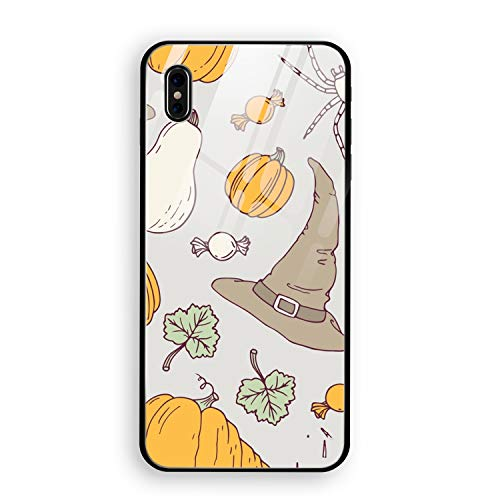 iPhone X Case, iPhone 10 Case, Hand Drawn Halloween Full Body Protection Hard Slim Tempered Glass Coated Case for Apple iPhone X (2017) -