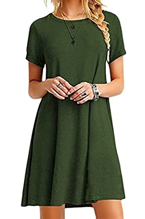 YMING Women's Casual Loose Fit T-Shirt Short Sleeve Tunic Dress Army Green 2XS…