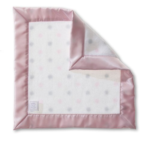 SwaddleDesigns Baby Lovie, Small Security Blanket, Sterling Dots with Satin Trim, Pastel Pink