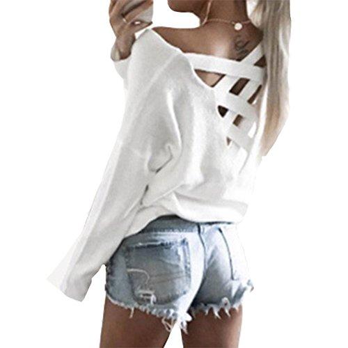 Antopmen Women Summer Back Crisscross Lace Up Tops Loose Fit Long Sleeve Tee (Small, White)