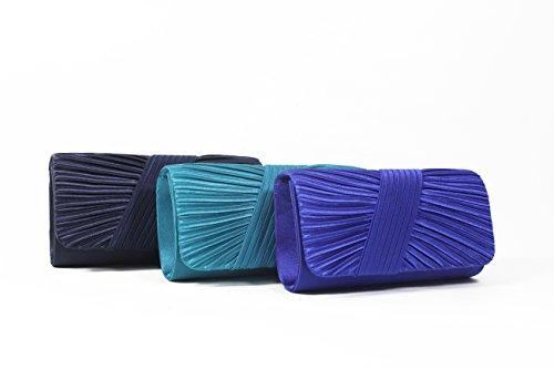 Pleated Women's Purse Evening Designer Fashion Clutch Navy Handbag LF7 4dnX5xXW